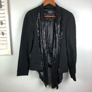 Adrianna Papell Sequin Draped Open Front Blazer M